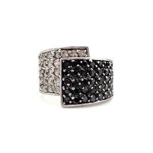 Jewelry - Premier Designs Opera Ring Black Clear CZ Silver